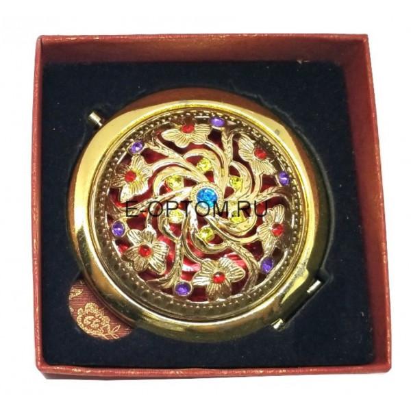 Зеркало компактное золотистое с камнями, в подарочной коробке