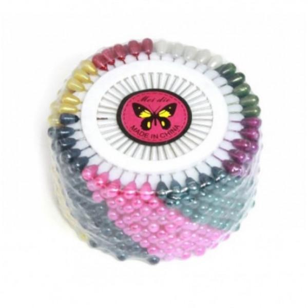 Булавки портновские, цветные, маленькие, в уп. 12 дисков