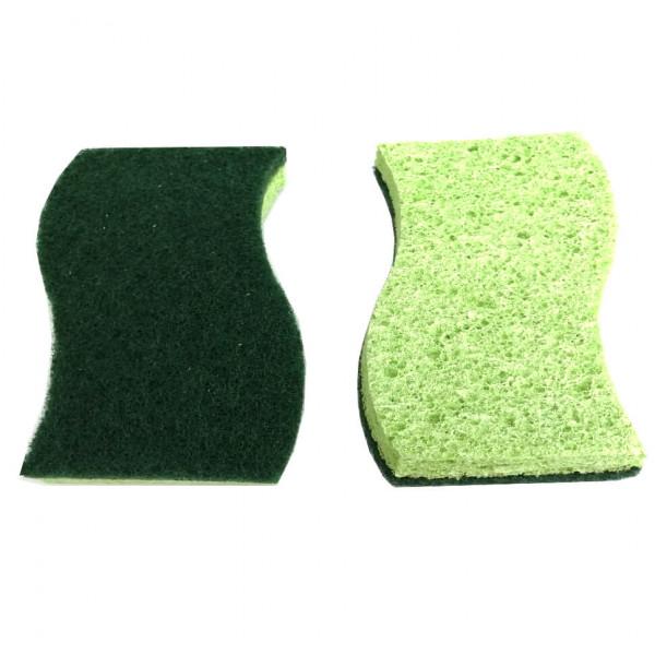 Универсальная губка из целлюлозы, абразив фибра, 2 шт.