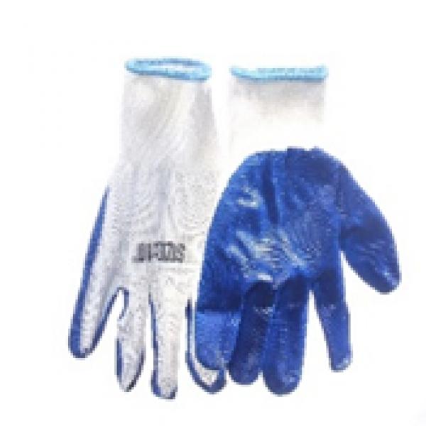 Перчатка с нитриловым покрытием (бело-синие)