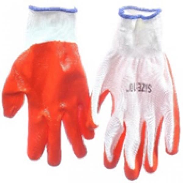 Перчатка с нитриловым покрытием (бело-оранжевые)