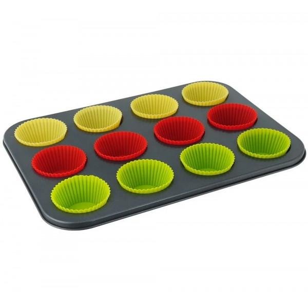 Форма для выпечки с силиконовыми вставками 12 шт (7 см)