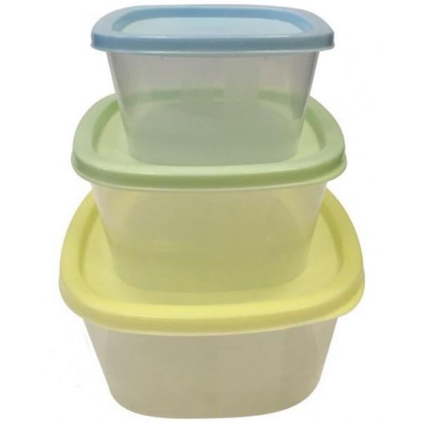 Набор контейнеров для СВЧ и заморозки ПАСТЕЛЬ (3шт. - 0.5, 0.9, 1.55 л), квадрат