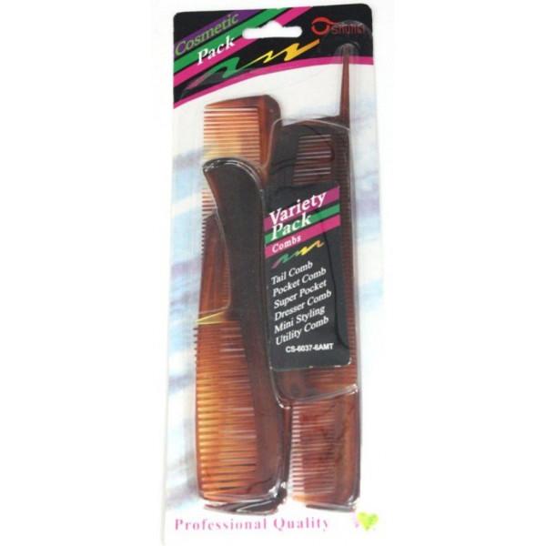 Расчески коричневые матовые, набор 6 шт