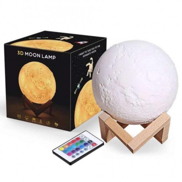 Светильник-ночник 3D шар Луна Moon Lamp на деревянной подставке с пультом, 15 см