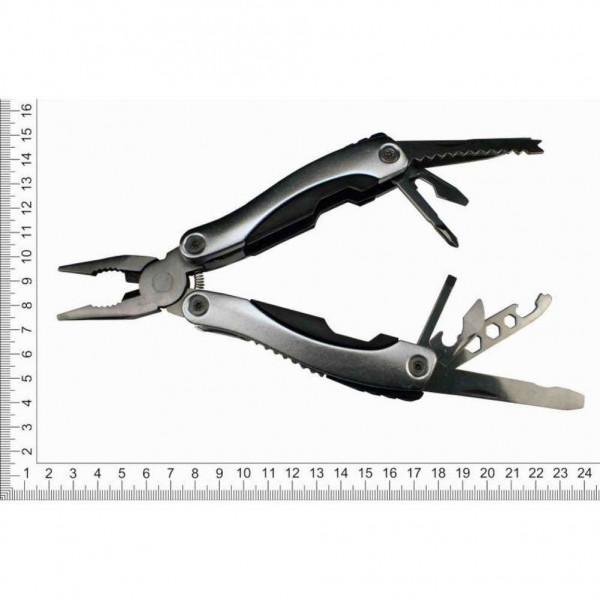 Мультитул с плоскогубцами металлический 9 инструментов пластиковые вставки
