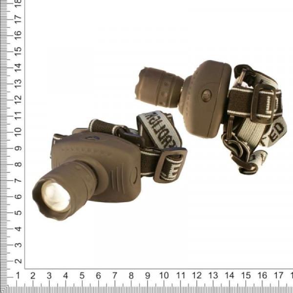 Фонарь налобный ZOOM BL-6611, 3 батарейки ААА, чёрный матовы