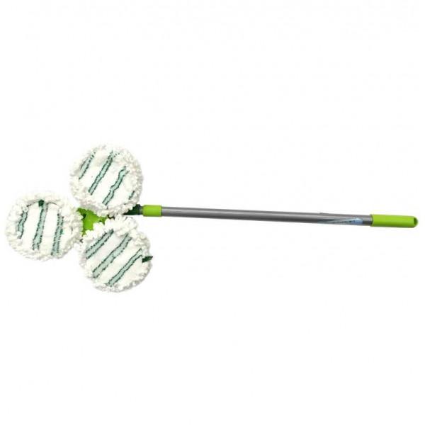 Швабра Микрофибра тройная для труднодоступных мест, насадки на липучке, телескопическая ручка