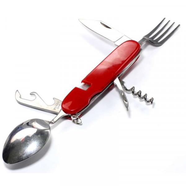 Мультитул походный ложка-вилка 6 инструментов красный