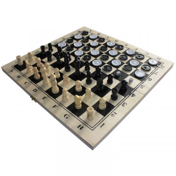 Шахматы+шашки+нарды деревянные 340 мм