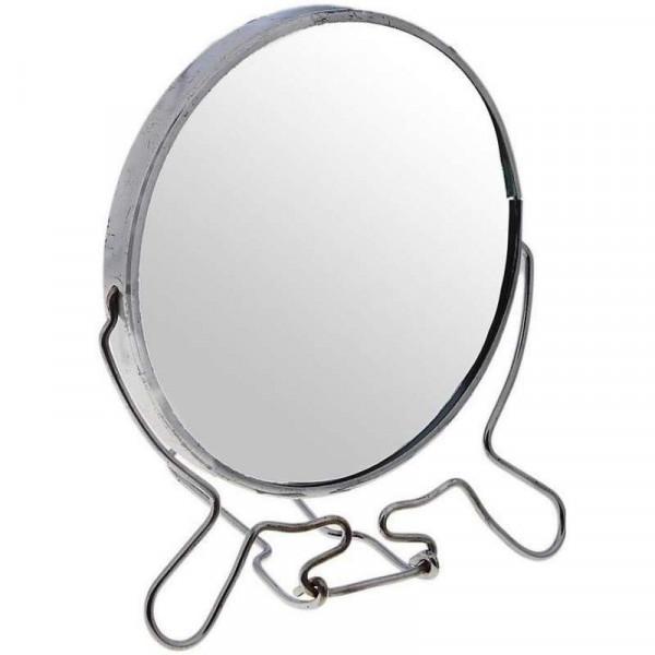 Зеркало настольное металлическое увеличительное двухстороннее круглое №8