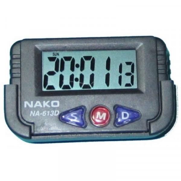 Часы автомобильные цифровые с секундомером NAKO NA-613D чёрные