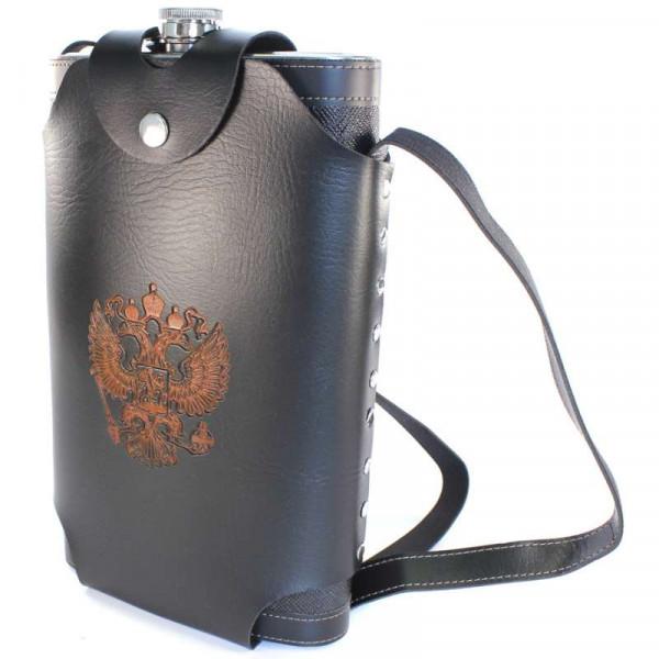 Фляжка кожзам в кобуре с гербом РФ 64 oz (BP-64)