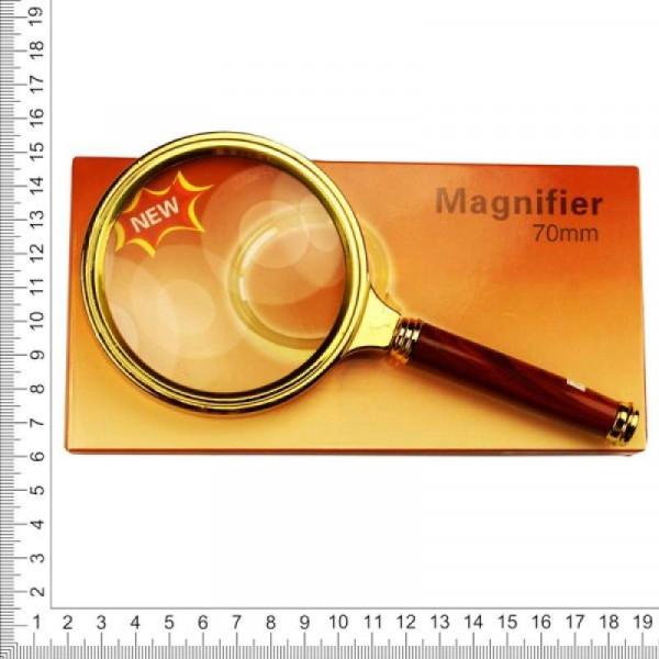 Лупа золотая с ручкой 70 мм