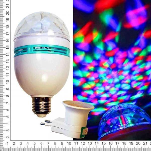 Лампа для вечеринок цветная крутящаяся с переходником для розетки