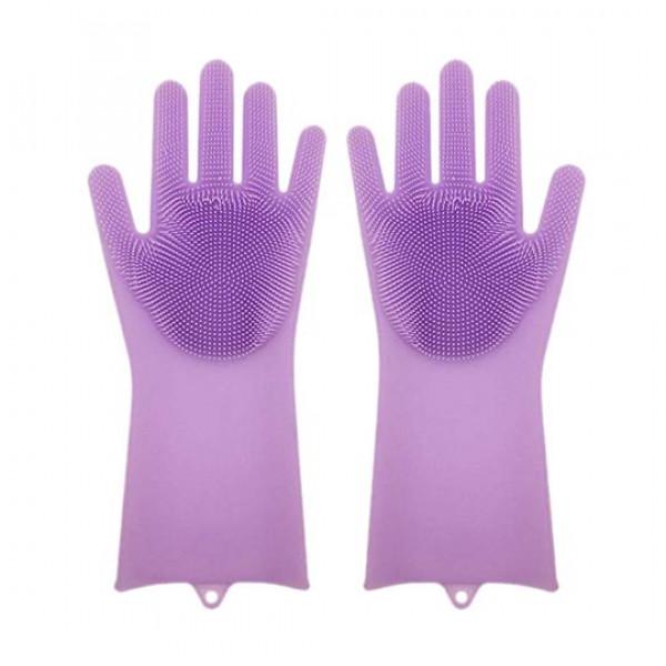 Перчатки силиконовые с ворсинками (фиолетовые)
