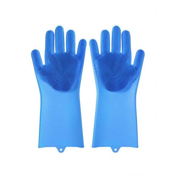 Перчатки силиконовые с ворсинками (синие)