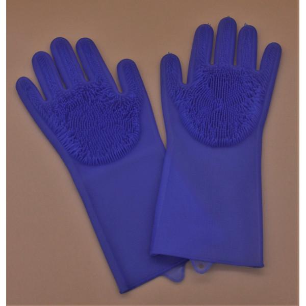 Перчатки силиконовые с ворсинками для мытья посуды (разноцветные)