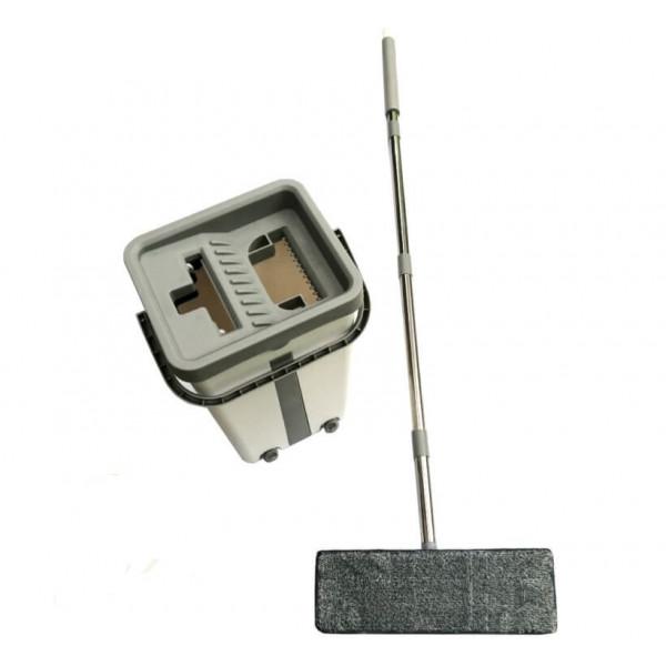 Комплект - ведро с системой отжима и швабра с допол. насадкой, белое с серым