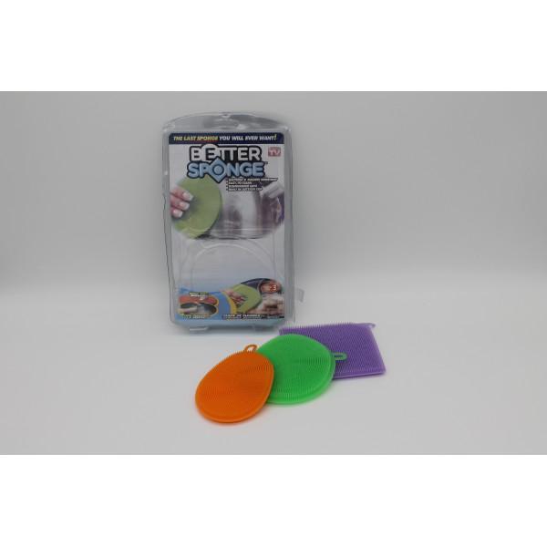 Набор силиконовых щеток-губок для мытья посуды Better Sponge (Биттер Спонж)