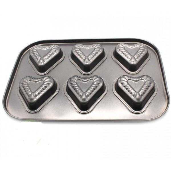 """Форма металлическая для выпечки """"Сердце"""" 6 отделений"""