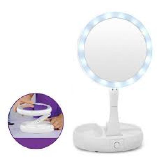 Складное зеркало для макияжа с Led подсветкой белое