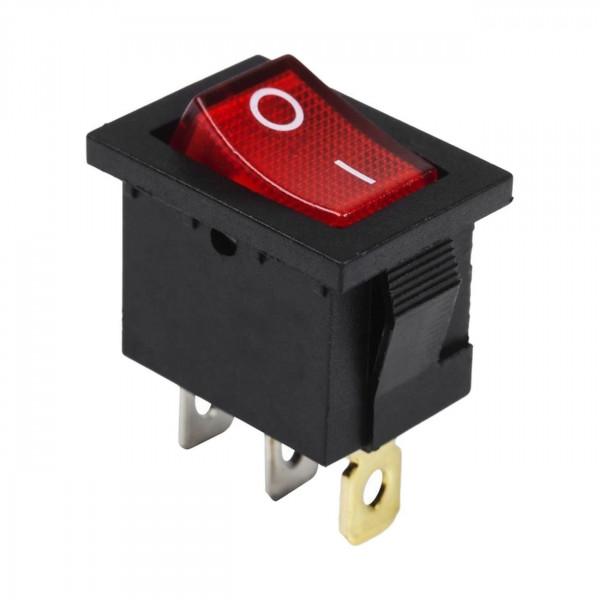 Выключатель клавишный узкий ON-OFF красный с подсветкой