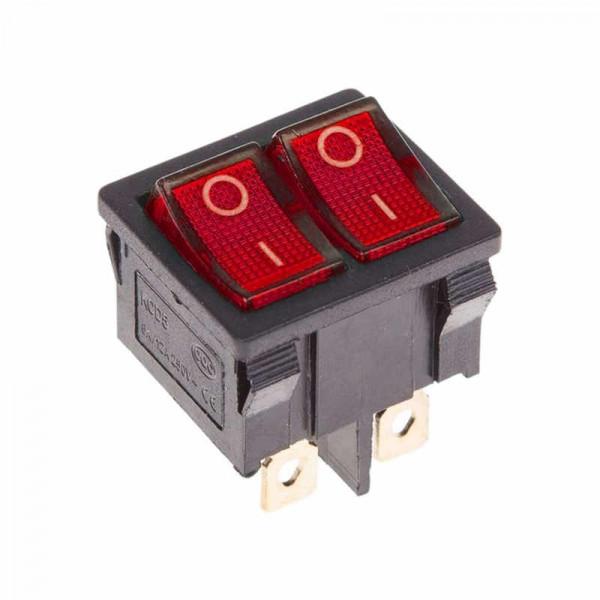 Двойной выключатель клавишный ON-OFF красный с подсветкой