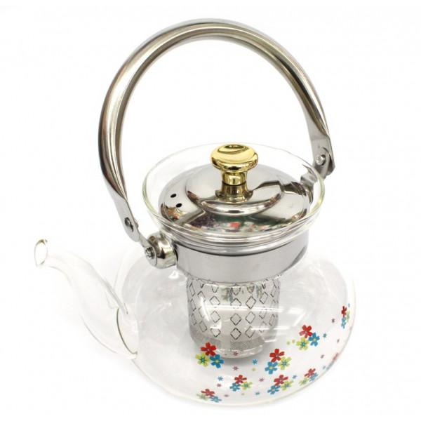 Чайник заварочный с рисунком стекло, 1000 мл