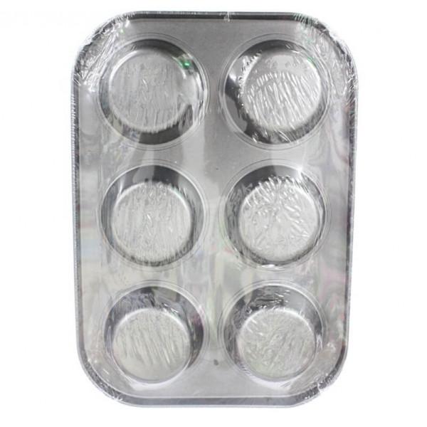 Форма для выпечки кексов металлическая, 6 ячеек