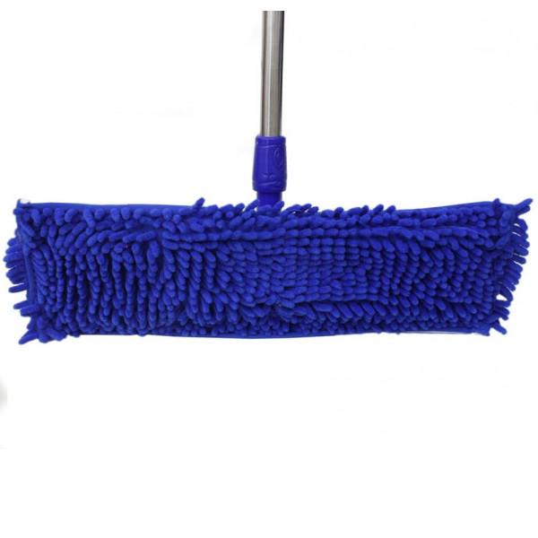 Швабра на пружине плоская, телескопическая ручка, насадка широкая из микрофибры с длинным  ворсом (макароны), 127х55 см