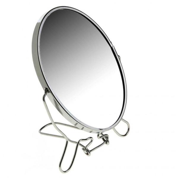 Зеркало, настольное, круглое, двустороннее, с увеличением, металлическое, 17 см