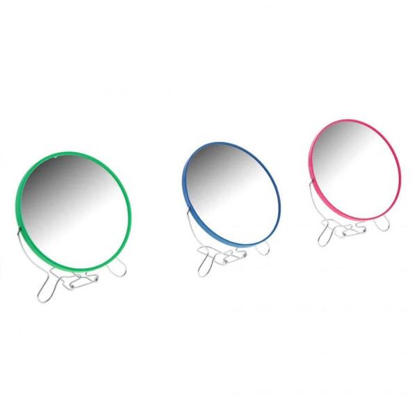 Зеркало, настольное, круглое, двухстороннее, цветное, с увеличением, 19 см