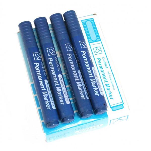 Маркер перманентный, синий, 12 шт. в упаковке