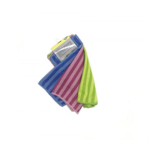 Салфетки, для уборки, в полоску, из микрофибры, набор 3 шт, 30 x 30 см