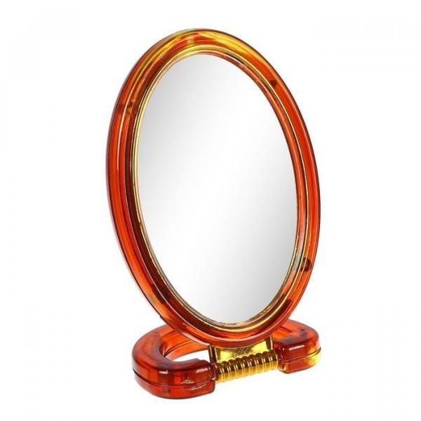 Зеркало настольное, двустороннее, овальное, с увеличением, 8х11 см (коричневое)