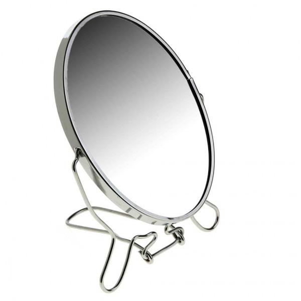 Зеркало, настольное, круглое, двустороннее, с увеличением, металлическое, 12 см