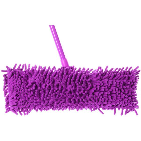 Швабра плоская, телескопическая ручка, насадка из микрофибры с длинным ворсом (макароны), 129 x 41 см (стандартная)