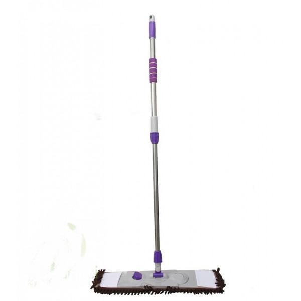Швабра плоская, телескопическая ручка, насадка широкая из микрофибры с длинным ворсом (макароны), 128х55 см