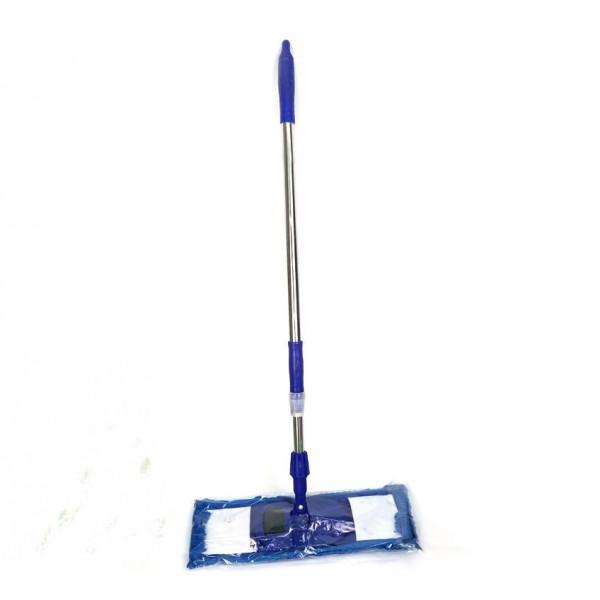 Швабра плоская, телескопическая ручка, насадка широкая из микрофибры с длинным ворсом (макароны), 129 х 43 см