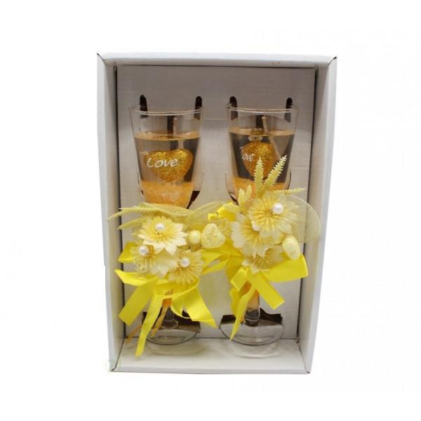 """Набор свечей в упаковке """"Бокалы шампанского"""", 2 шт. 19 см."""