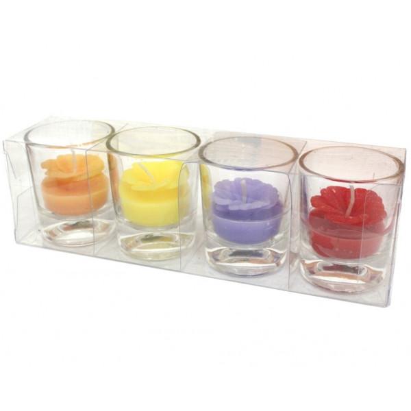 """Свечи в стаканчиках """"Цветы"""", 5.5 см, 4 шт."""