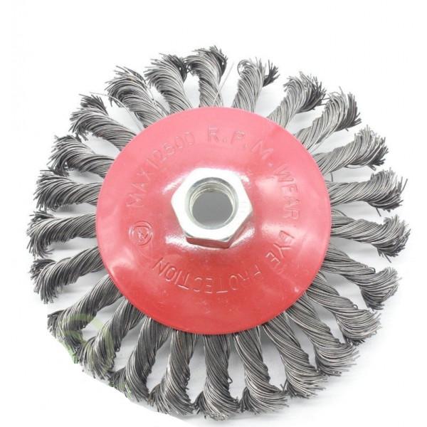 Щетка по металлу для болгарки конусная из витого троса, 125 мм