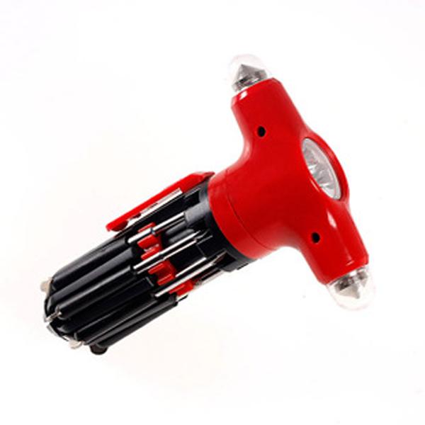 Отвертка с фонариком 8 в 1- молоток (QC-177)