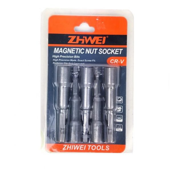 Биты магнитные для кровельных саморезов, с шестигранной головкой, 13х65 мм ZHWEI TOOLS (5 шт.)