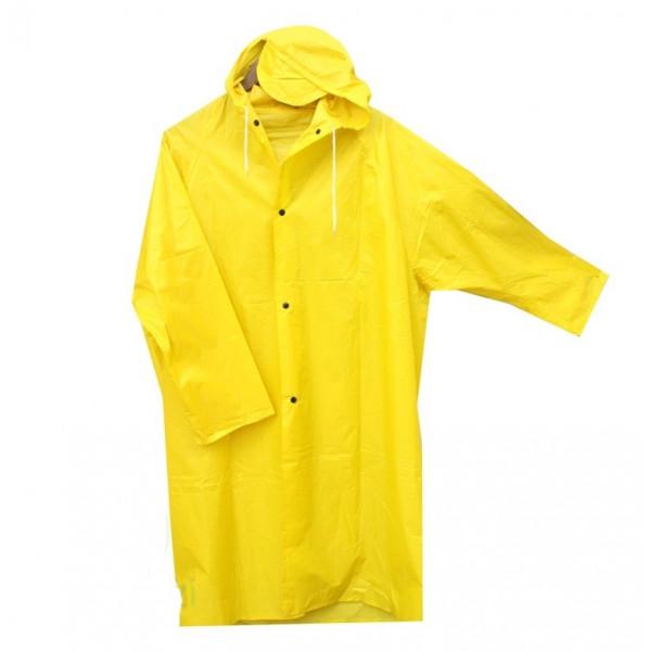 Супер дождевик на кнопках, капюшон с козырьком, желтый