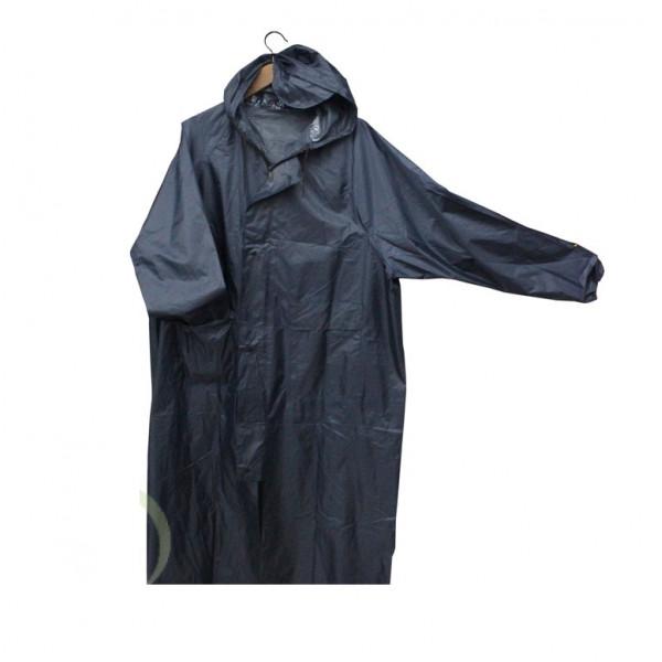 Плащ-дождевик синий на молнии и кнопках, с карманами, рукава на резинке, размер XX