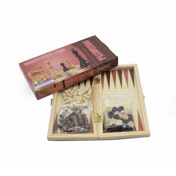 Шахматы 3 в 1: Шахматы Нарды Шашки; из бамбука, поле 24х24 см