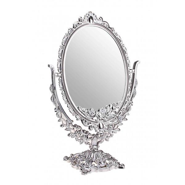 Зеркало настольное, двухстороннее, ажурное, овальное, 15х23 см